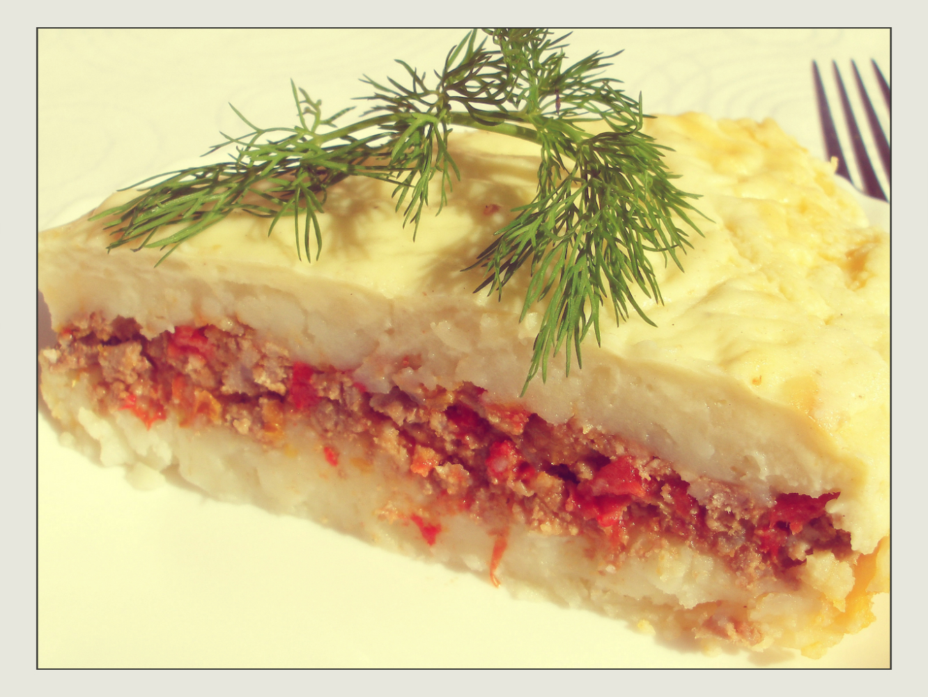 Casserole with minced meat.