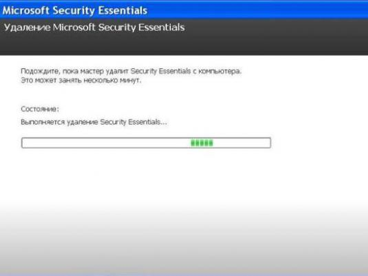 Как удалить Microsoft Security Essentials?