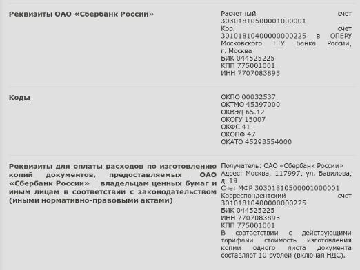 How to find out the details of Sberbank?