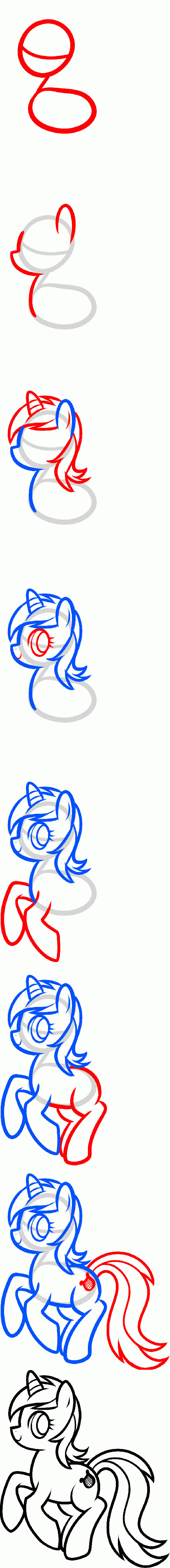 How to draw a pony from the cartoon Friendship is a miracle