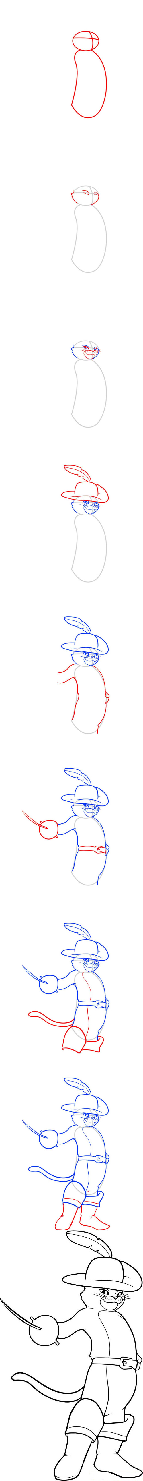 How to draw Puss in Boots