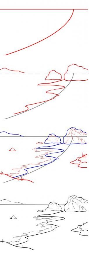 How to draw a sea
