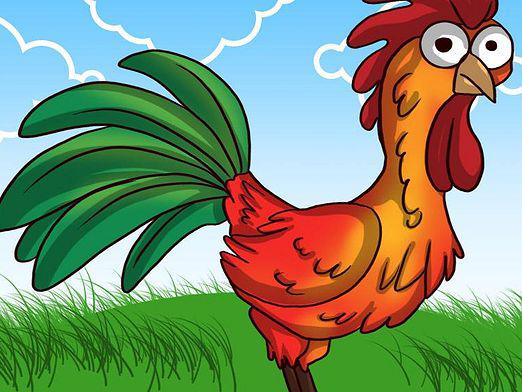 How to draw a rooster?