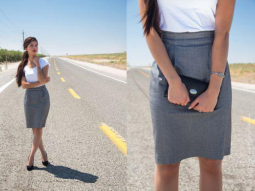 What to wear with a gray skirt?