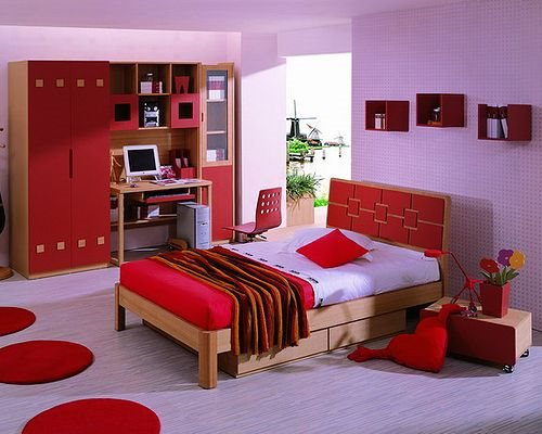 Furniture in the bedroom with workplace
