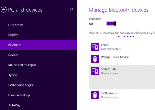 How to enable bluetooth windows 8