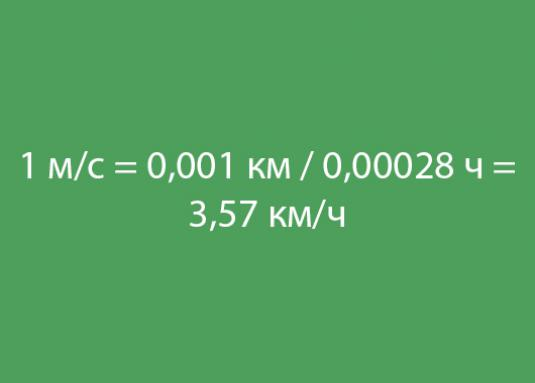 How can m / s be converted to km / h?