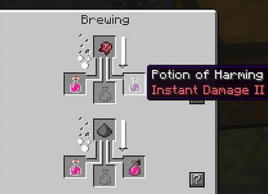 How to make a damage potion in Minecraft?