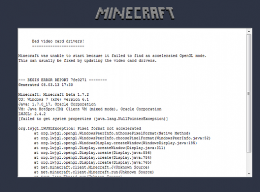 Why does not Minecraft start?