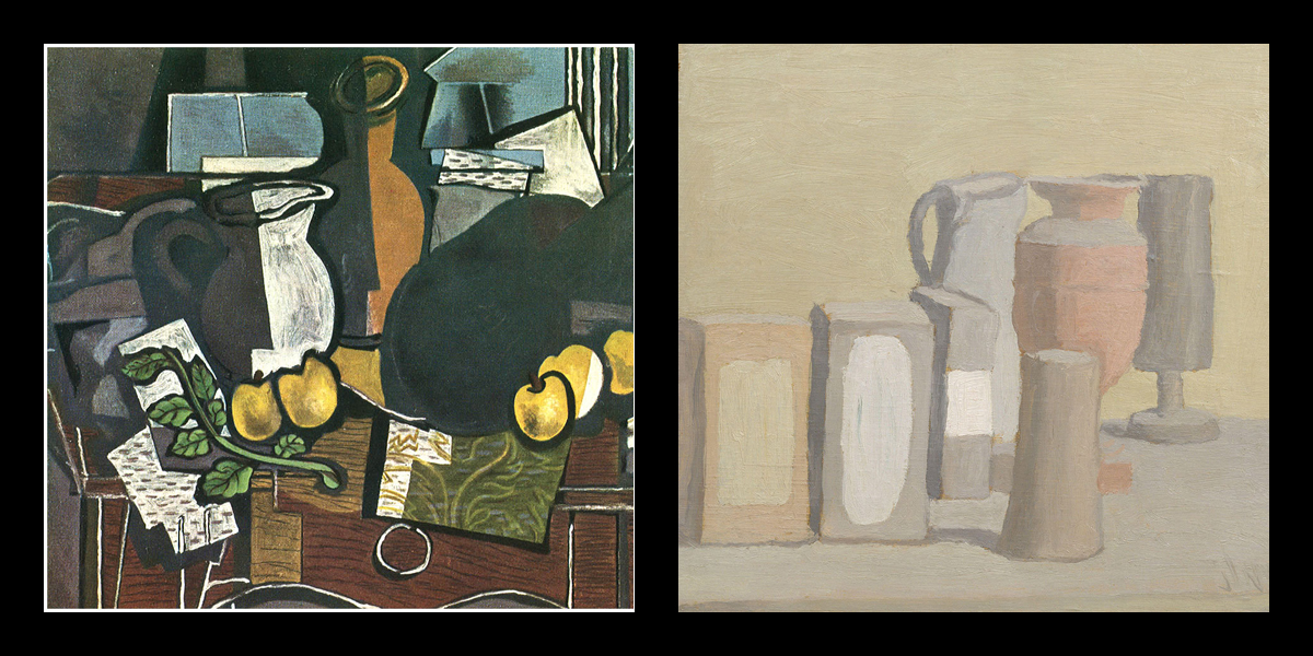 Georges Braque and Giorgio Morandi: fragments of works.