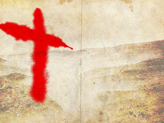 What put the cross?